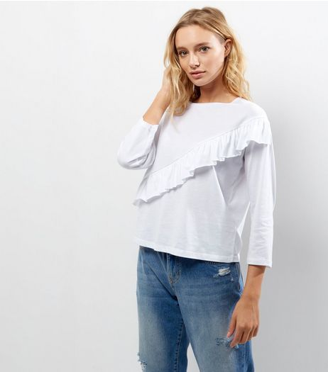 White Frill Trim Long Sleeve T-Shirt | New Look