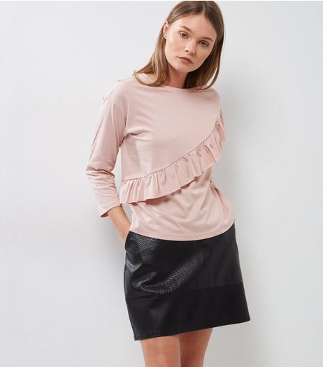 Pink Frill Trim Long Sleeve T-Shirt | New Look
