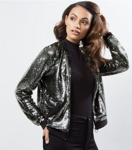 Anita and Green Grey Sequin Bomber Jacket  | New Look
