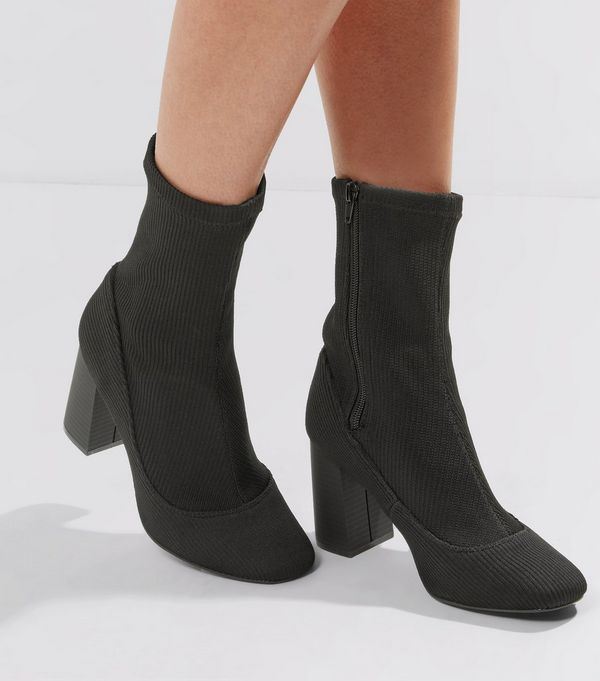 Black Ribbed High Ankle Boots