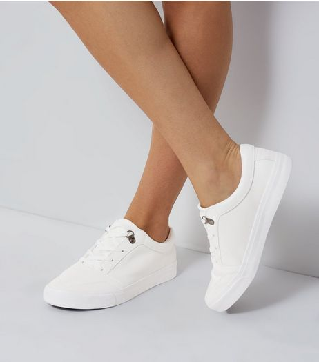 White Lace Up Trainers | New Look