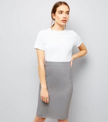 Grey Suit Split Back Midi Skirt