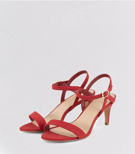 Red Suedette Heeled Sandals | New Look