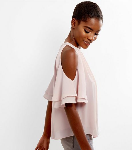 Shell Pink Frill Trim Cold Shoulder Top  | New Look