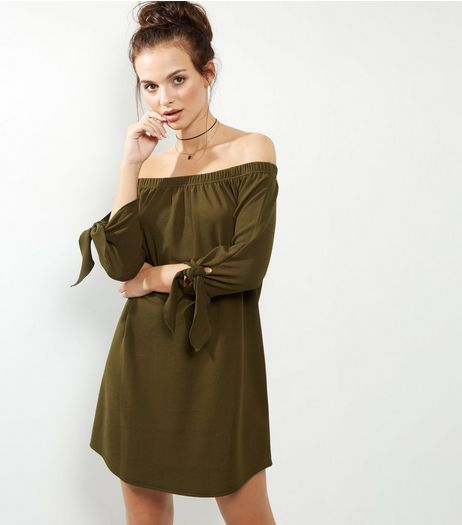 Khaki Tie Sleeve Bardot Dress | New Look