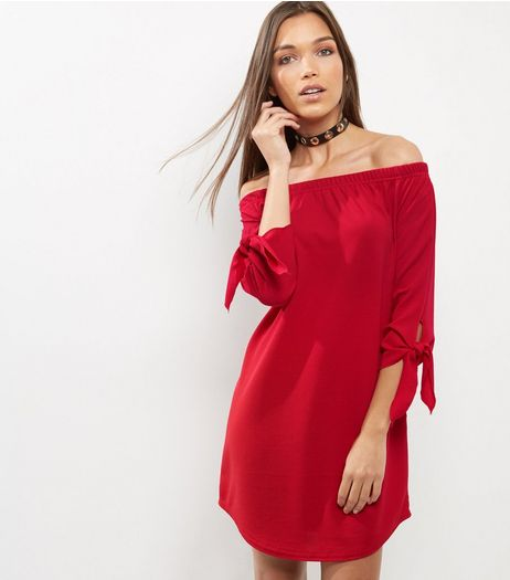 Red Tie Sleeve Bardot Neck Dress | New Look