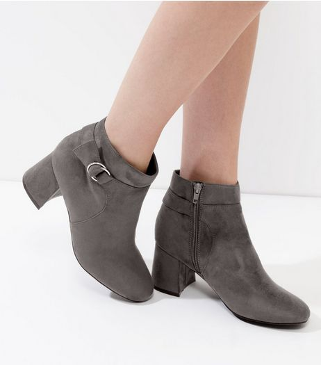 Grey Suedette Ankle Boots | New Look
