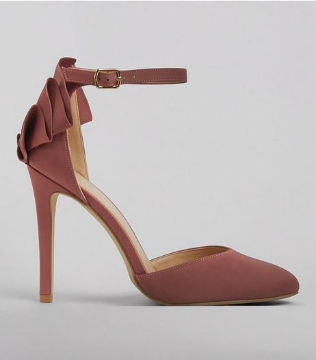 Pink Satin Frill Trim Ankle Strap Heels | New Look