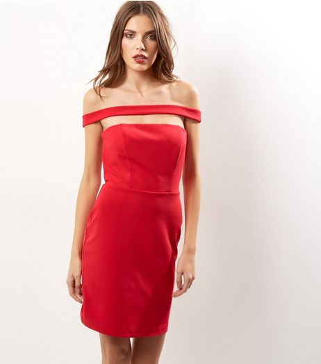 Red Bardot Neck Cut Out Strap Bodycon Dress | New Look