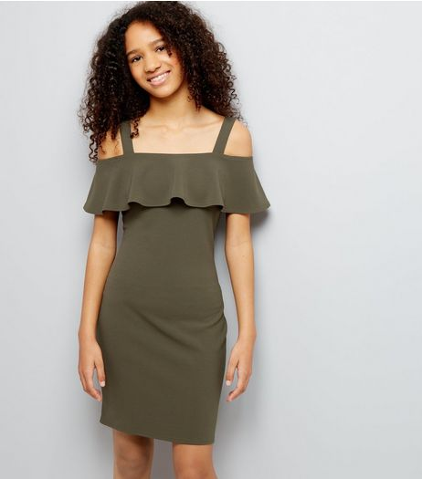 Teens Khaki Cold Shoulder Bodycon Dress | New Look