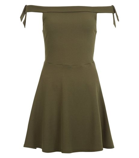 Teens Khaki Bardot Neck Tie Sleeve Skater Dress | New Look
