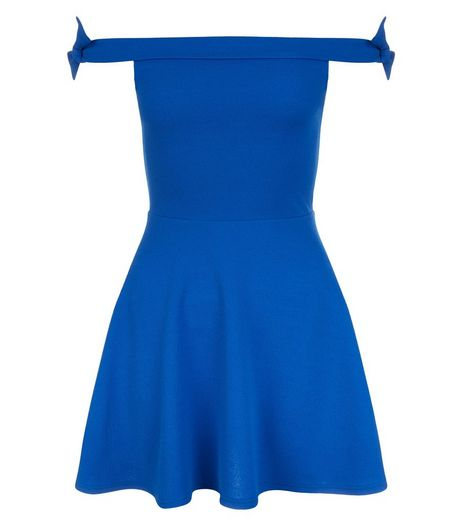 Teens Blue Bardot Neck Tie Sleeve Skater Dress | New Look