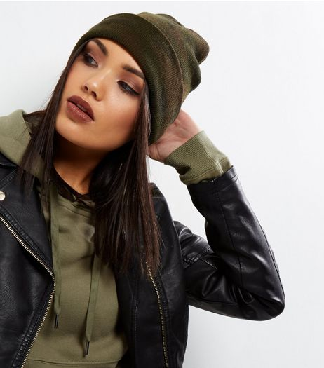 Khaki Camo Print Beanie Hat | New Look