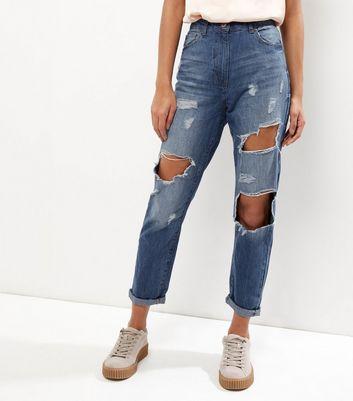 Parisian Blue Ripped Turn Up Boyfriend Jeans