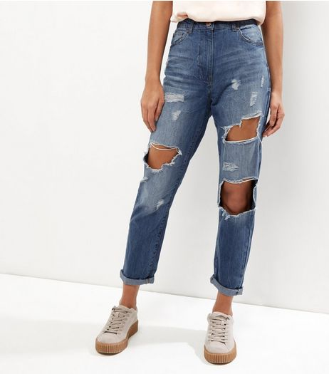 Parisian Blue Ripped Turn Up Boyfriend Jeans | New Look