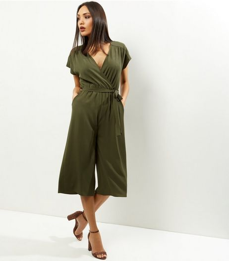 Khaki Wrap Front Culotte Jumpsuit | New Look