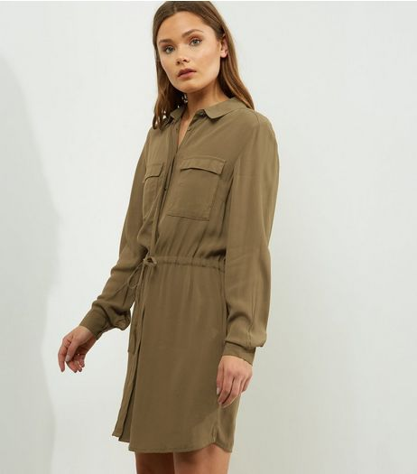 Khaki Drawstring Waist Shirt Dress | New Look