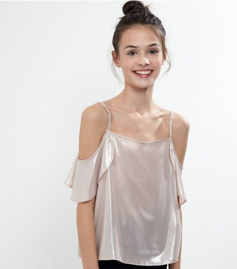 Teens Shell Pink Metallic Cold Shoulder Frill Trim Top | New Look
