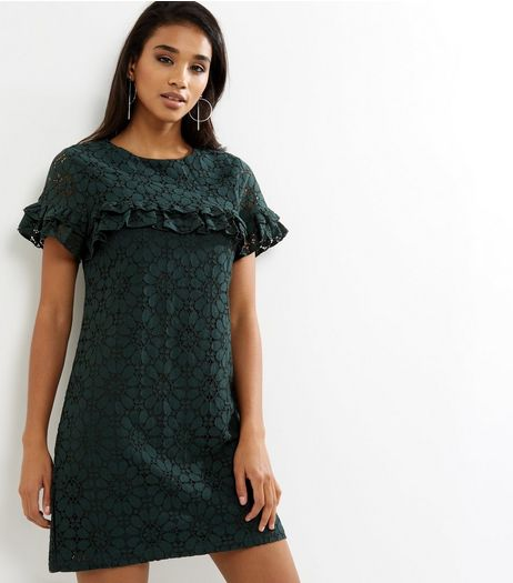 Dark Green Yoke Frill Trim Lace Tunic Dress | New Look