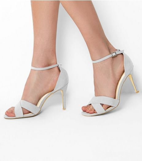 Wide Fit Grey Comfort Suedette Cross Front Heels | New Look