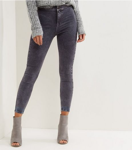 Grey Acid Washed High Waist Skinny Hallie Jeans  | New Look