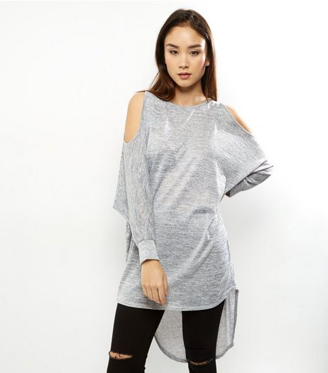 Pale Grey Cold Shoulder Batwing Sleeve Top  | New Look