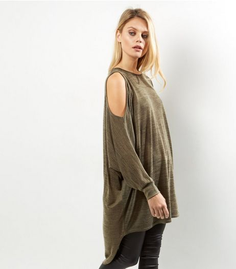 Khaki Cold Shoulder Batwing Sleeve Oversized Top | New Look