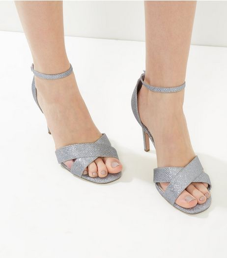 Wide Fit Silver Comfort Glitter Cross Strap Heeled Sandals | New Look