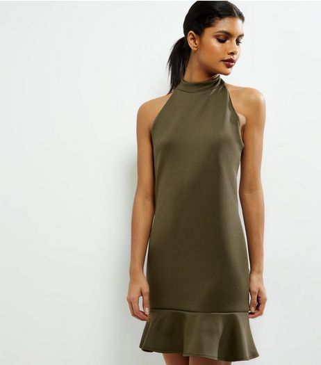 Khaki Peplum Hem Funnel Neck Bodycon Dress | New Look