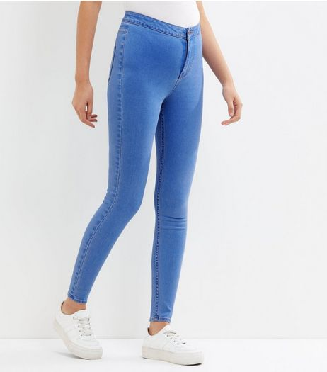 Bright Blue High Waist Super Skinny Hallie Jeans | New Look