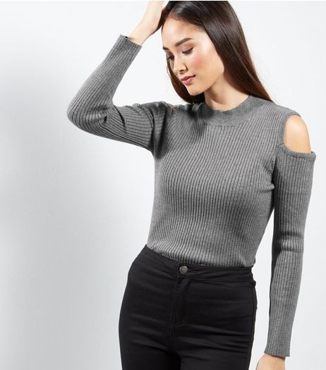 Cameo Rose Grey Cold Shoulder Funnel Neck Jumper | New Look