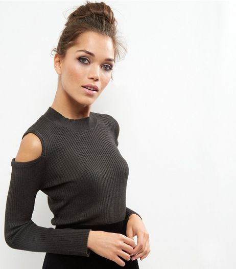 Cameo Rose Khaki Cold Shoulder High Neck Jumper | New Look