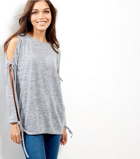 Pale Grey Cold Shoulder Tie Sleeve Top  | New Look