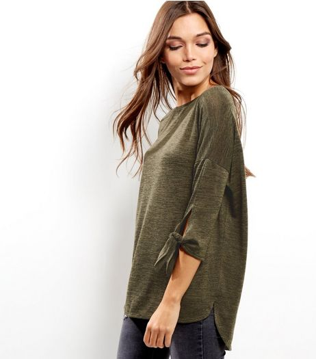 Khaki Tie Sleeve Top  | New Look