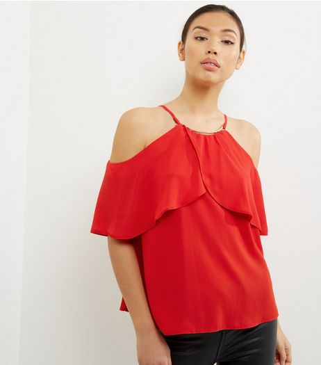 Red Frill Trim Metallic Neck Cold Shoulder Top  | New Look