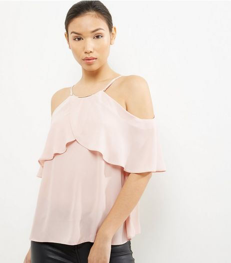 Shell Pink Metallic Neck Frill Trim Cold Shoulder Top  | New Look