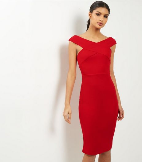 AX Paris Red Cross Front Midi Dress | New Look
