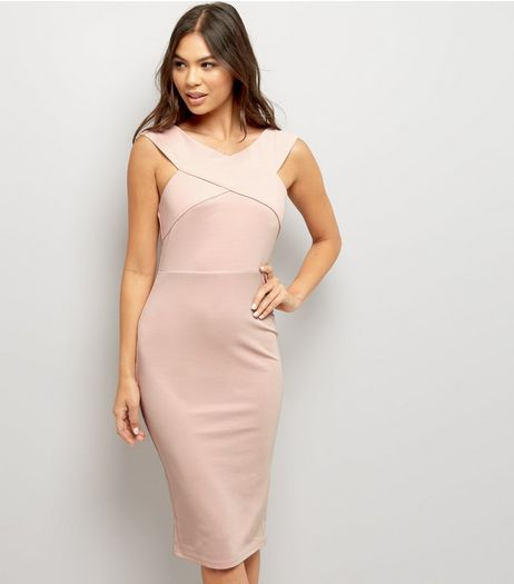 AX Paris Pink Cross Front Midi Dress  | New Look