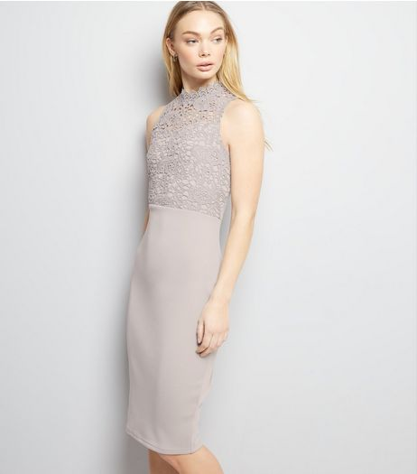 AX Paris Grey Lace Neck Midi Dress | New Look