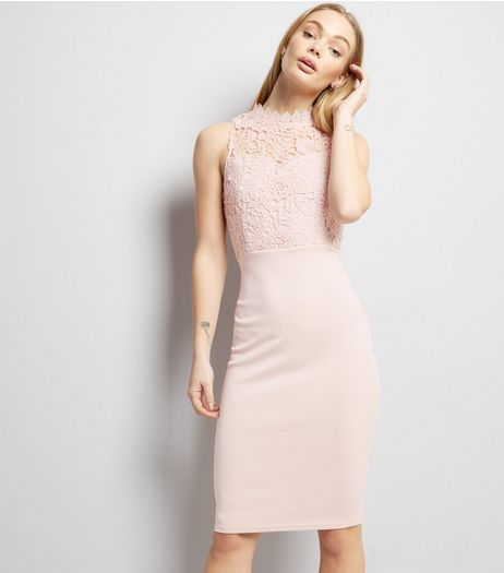 AX Paris Pink Lace Neck Midi Dress | New Look