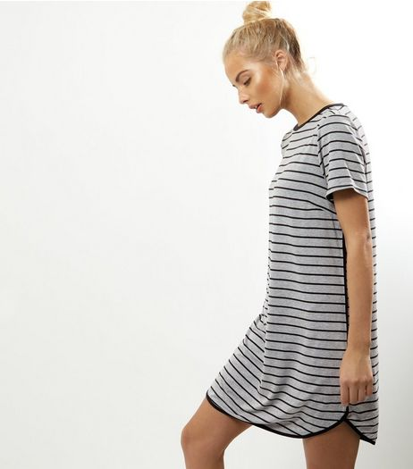 Light Grey Stripe Contrast Trim T-shirt Dress | New Look