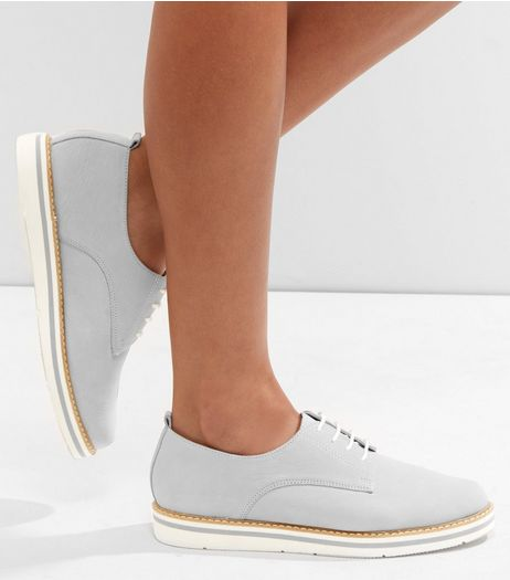 Grey Suede Lace Up Contrast Trim Shoes | New Look