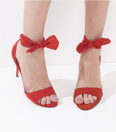 Bright Red Suedette Tie Up Bow Heeled Sandals | New Look