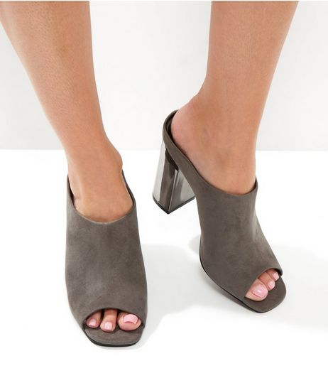Grey Suedette Metallic Block Heel Mules | New Look