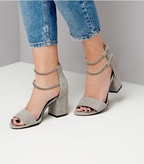 Grey Suedette Cross Strap Sandals | New Look