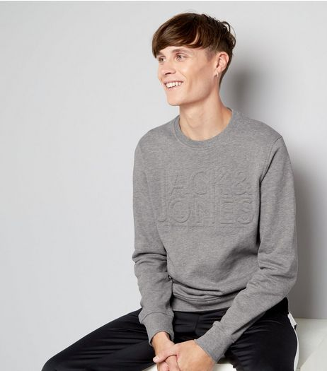 Jack & Jones Grey Embossed Crew Neck Sweater | New Look