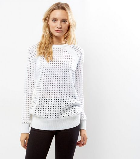 White Cut Out Long Sleeve Jumper  | New Look