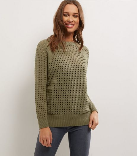 Khaki Mesh Cut Out Long Sleeve Jumper  | New Look