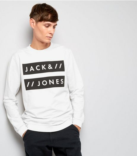 Jack & Jones White Crew Neck Sweater | New Look