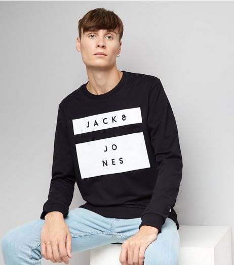 Navy Premium Jack & Jones Box Print Sweater | New Look